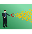 businessman magnet attract profit money concept vector image vector image