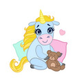 cartoon light blue lovely unicorn sitting with a vector image vector image