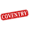 coventry red square grunge retro style sign vector image vector image