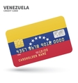 Credit card with Venezuela flag background for vector image vector image
