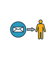 direct message icon outline filled creative vector image vector image