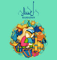 eid mubarak happy eid background for islam vector image vector image