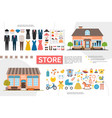 flat clothing and kids shops infographics vector image