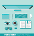 Flat design of designers workspace Top view vector image
