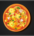 Flat hot pizza icons isolated on white pepperoni