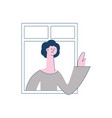 flat neighbor looking out the windows vector image vector image