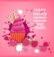 fresh muffin choose your taste logo cake sweet vector image