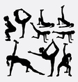 Girl fitness silhouettes vector image vector image