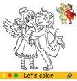 halloween coloring with colored example angel vector image