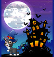 halloween grey kitten wearing witches hat with sca vector image