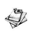 hand drawn stack of books and camera vector image