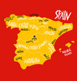 hand drawn stylized map spain kingdom travel vector image vector image