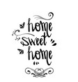 hand lettering sweet home with decor elements old vector image
