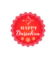 happy dussehra hand lettering with bow and arrow vector image vector image