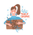 happy young woman carrying huge christmas gifts vector image vector image