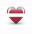 Heart-shaped icon with national flag of Latvia vector image vector image