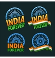 India forever four badges independence day on dark vector image vector image