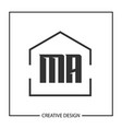 initial letter ma logo template design vector image