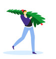 man carrying christmas tree and walking home vector image vector image