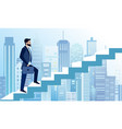 man rises in business steps vector image