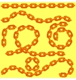 Metal Chain Set Isolated on Yellow vector image