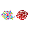 migration collage of mosaic map of romania and vector image