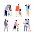 parents hugging child family embracing dad mom vector image vector image