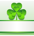 Patricks day card with green clover and paper vector image