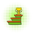 Pedestal and winner cup icon comics style vector image vector image