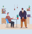 people in office man sits at computer man in vector image vector image