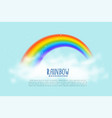 realistic rainbow and clouds background vector image vector image