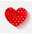 red gift box for valentines day heart box with vector image vector image