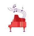 red piano and musical notes on white background vector image