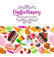 seamless border with confectionery vector image vector image