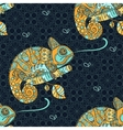 Seamless pattern with hand drawn chameleon vector image