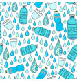 seamless pattern with water drops and bottles vector image