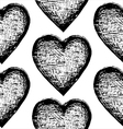 Seamless sketchy pattern heart vector image
