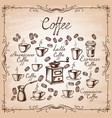 set hand drawn mugs with coffee vector image