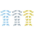 silver metal and gold banners or ribbons vector image vector image