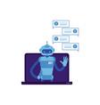 smiling chat bot waving hand laptop screen vector image vector image