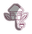 sticker house with reduce power cable icon vector image