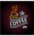 the coffee shop coffee cup black background vector image vector image