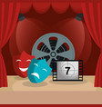 theater courtain with cinema icons vector image vector image