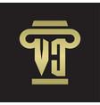 vc logo monogram with pillar style design vector image vector image