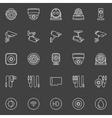 Video surveillance cameras icons vector image vector image