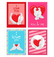 white doves couples with heart set vector image vector image