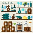 Wine cellar icons vector image vector image