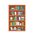 wooden book shelf flat design vector image