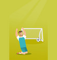 young caucasian soccer player celebrating a goal vector image vector image