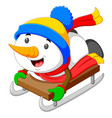 a happy snowman is palying and sliding vector image vector image